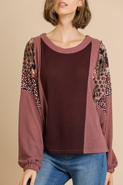 Umgee USA Mixed-Print Color-Block Top - Front cropped