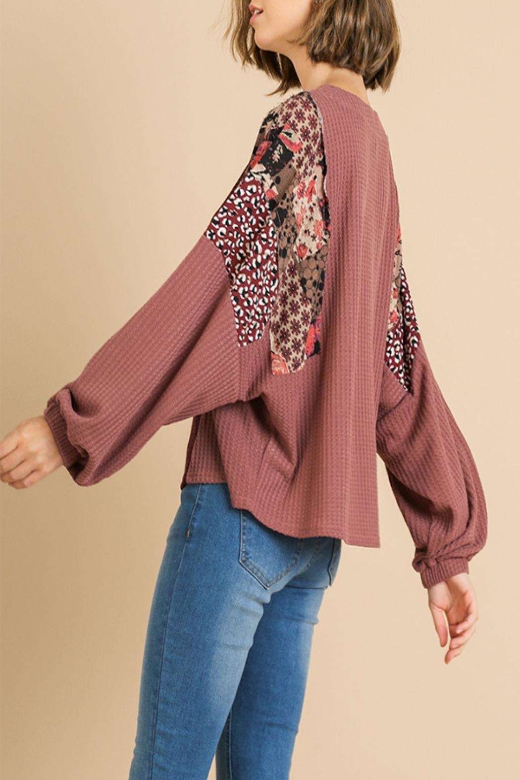 Umgee USA Mixed-Print Color-Block Top - Side Cropped Image