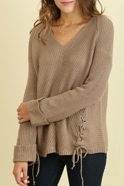 Umgee USA Mocha V-Neck Sweater - Product Mini Image