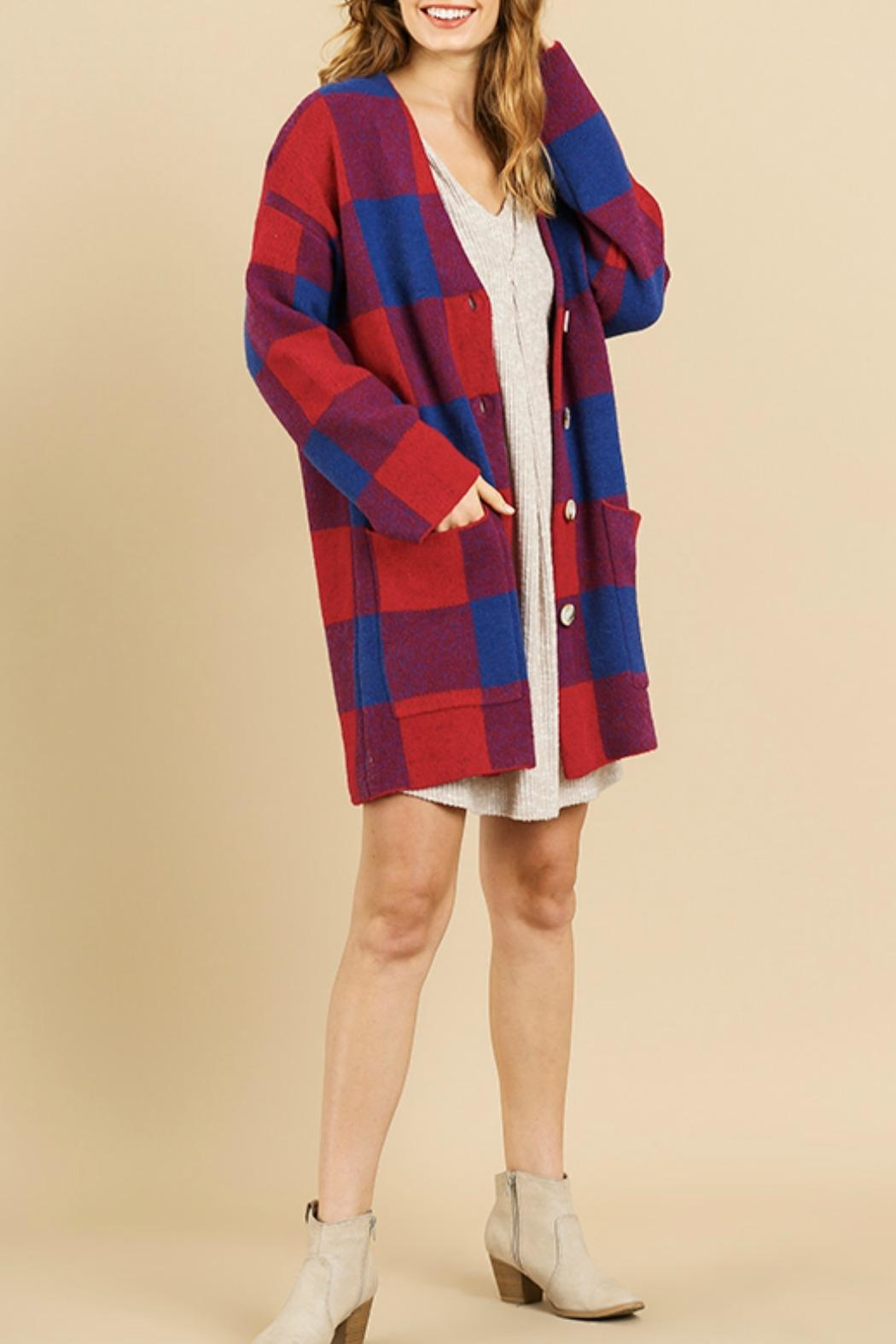 Umgee USA Molly Plaid Cardigan - Front Cropped Image