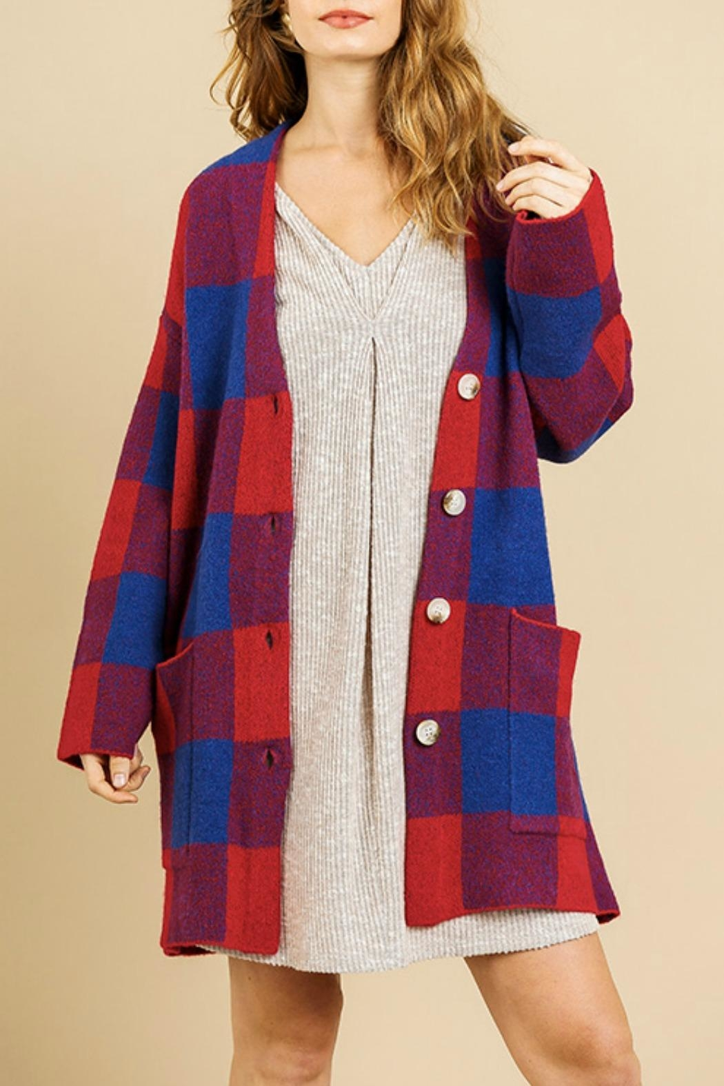 Umgee USA Molly Plaid Cardigan - Front Full Image