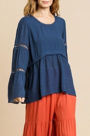 Umgee USA Navy Bell-Sleeve Top - Product Mini Image