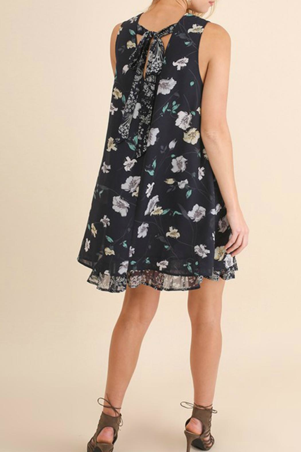 Umgee USA Navy Floral Dress - Side Cropped Image