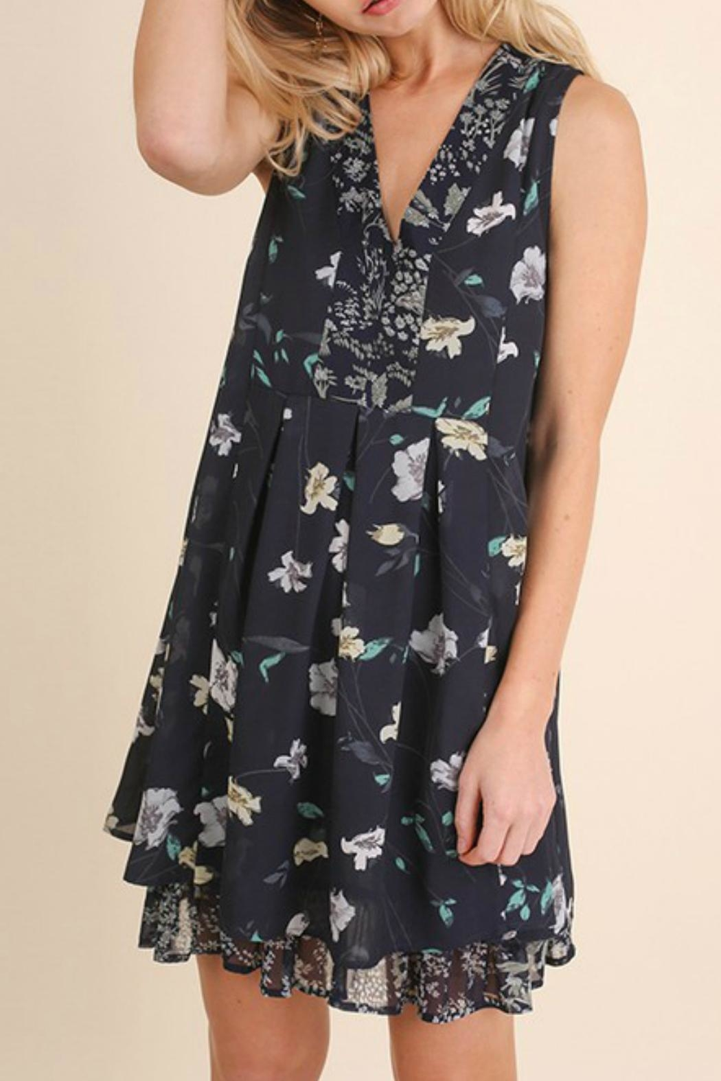 Umgee USA Navy Floral Dress - Front Cropped Image