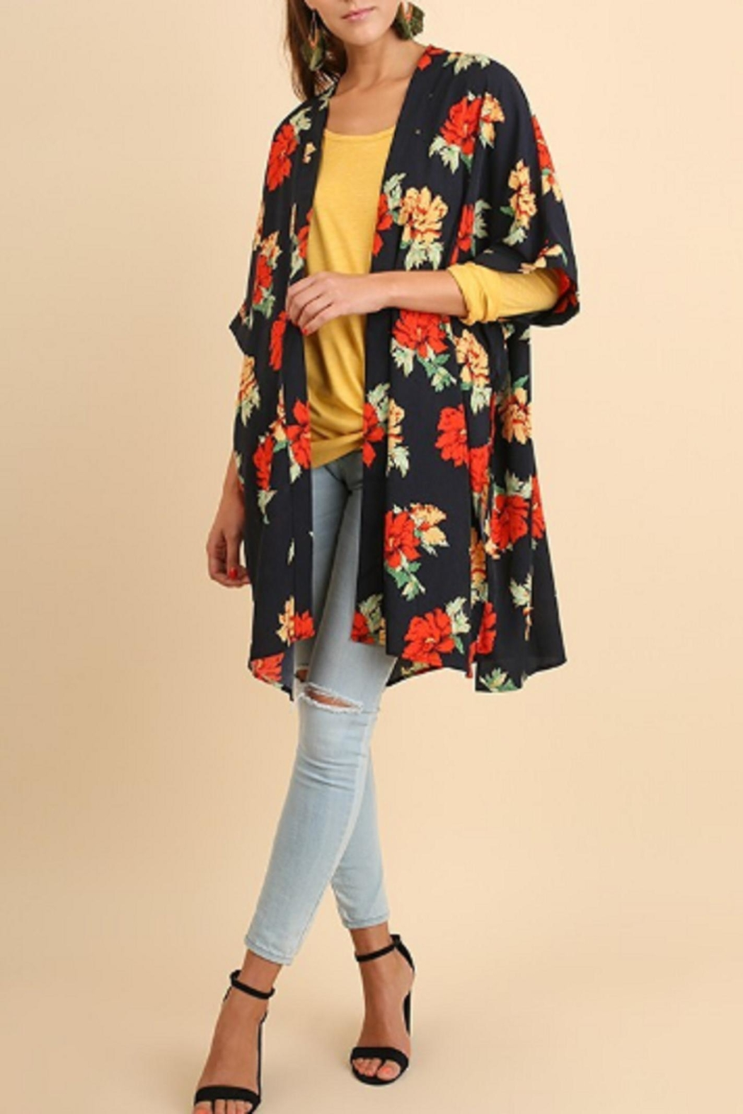 Umgee USA Navy Floral Kimono - Front Cropped Image