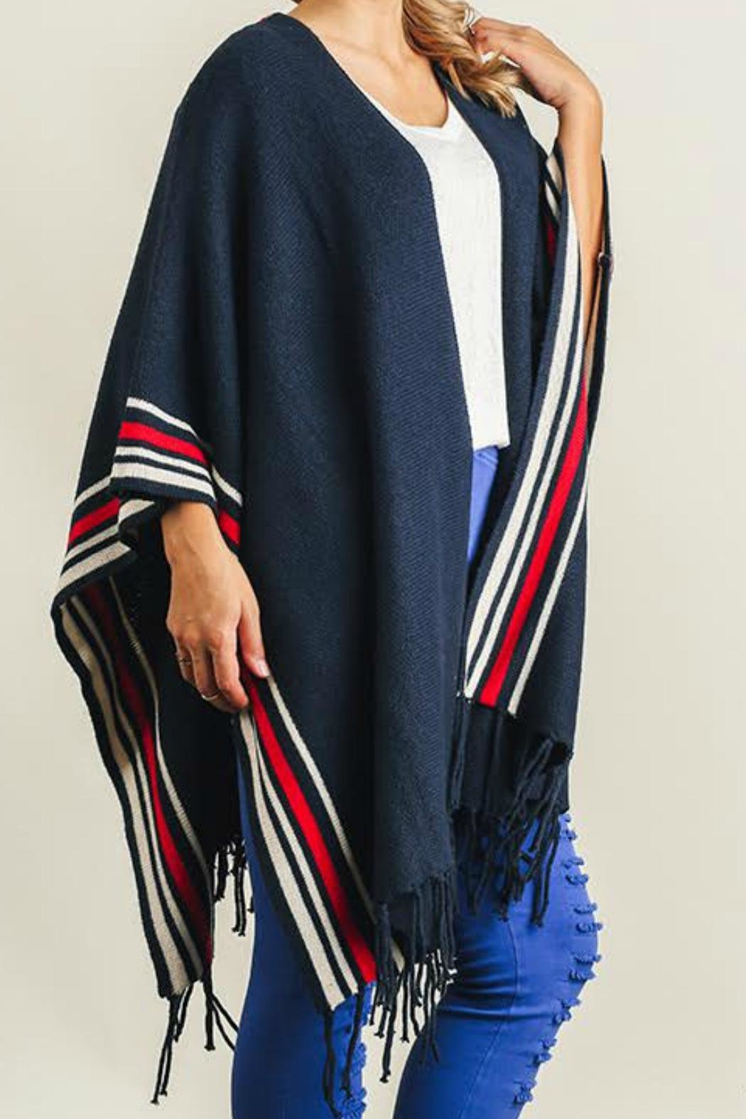 Umgee USA Navy Fringed Poncho - Main Image