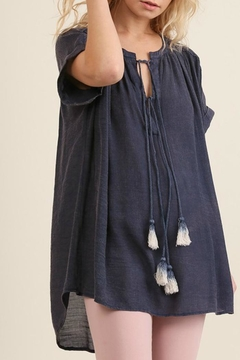 Shoptiques Product: Navy Tassel Top