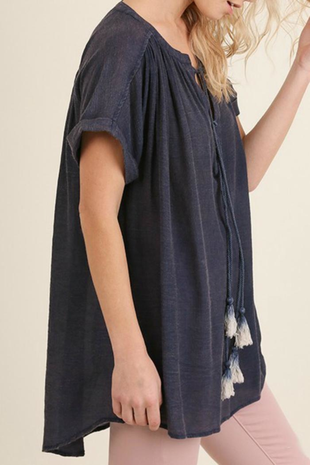 Umgee USA Navy Tassel Top - Side Cropped Image