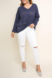 Umgee USA Navy Waffle-Knit Top - Front full body
