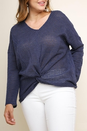 Umgee USA Navy Waffle-Knit Top - Front cropped