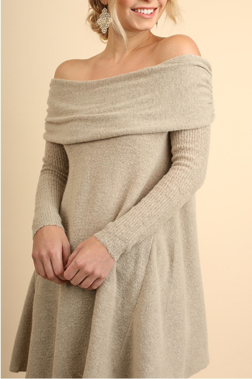 Umgee USA Off Shoulder Sleeve Sweater - Side Cropped Image