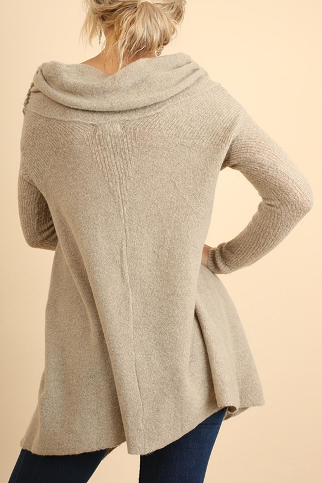 Umgee USA Off Shoulder Sleeve Sweater - Front Full Image