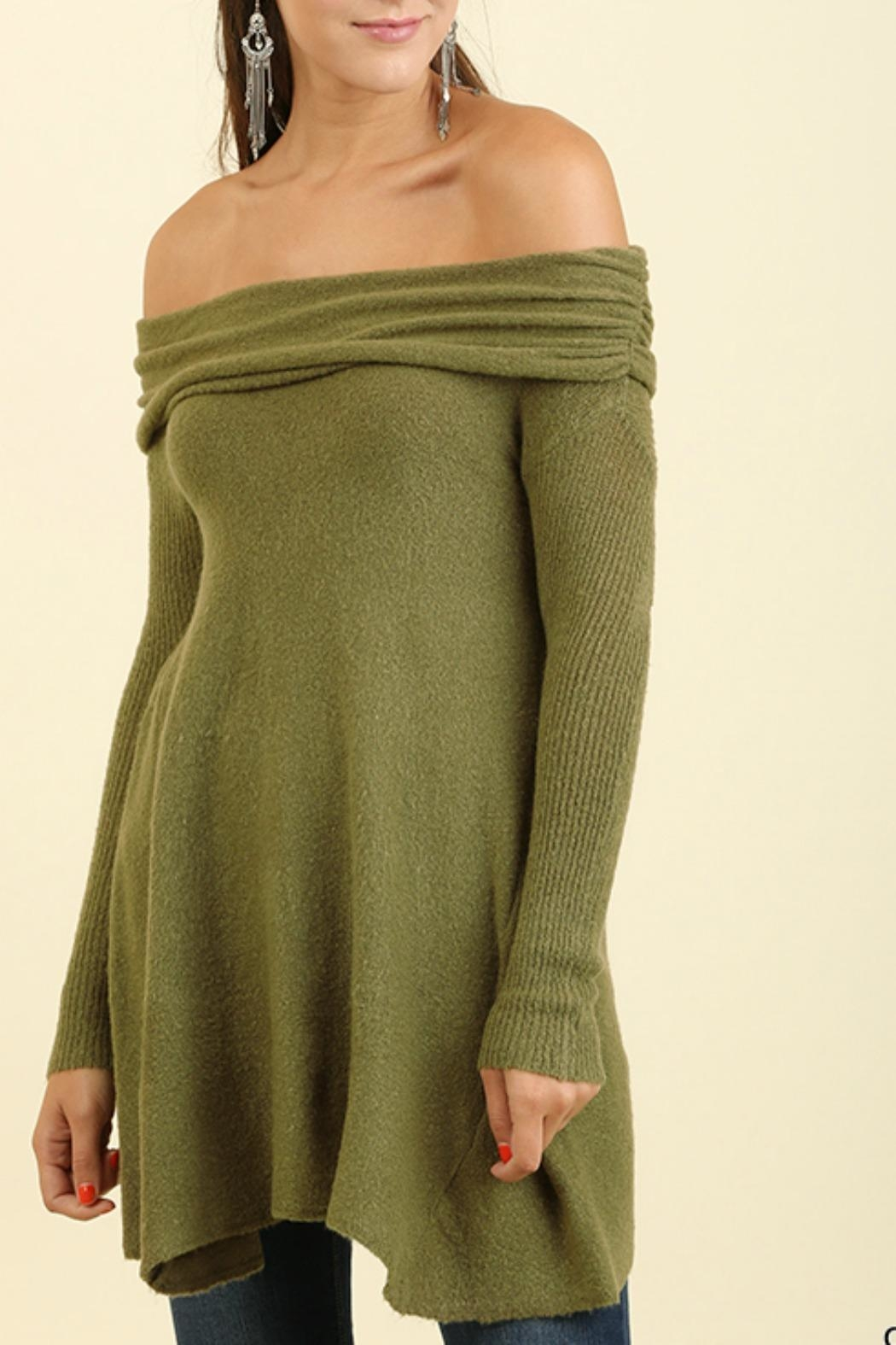 Umgee USA Off the Shoulder Sweater - Front Cropped Image