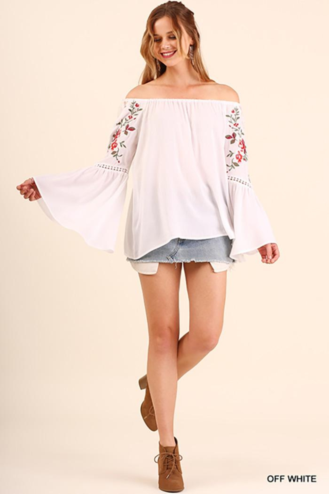 Umgee USA Off Shoulder Top With Embroidered Bell Sleeves - Main Image