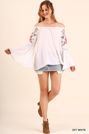 Umgee USA Off Shoulder Top With Embroidered Bell Sleeves - Product Mini Image
