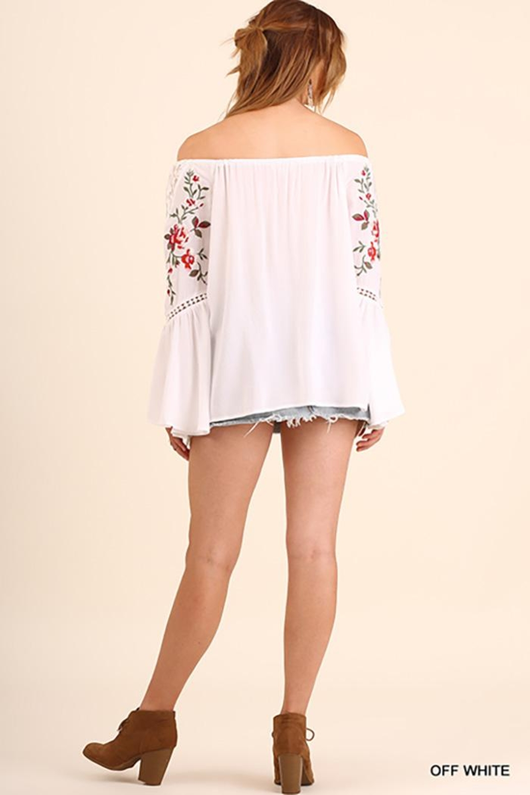 Umgee USA Off Shoulder Top With Embroidered Bell Sleeves - Front Full Image