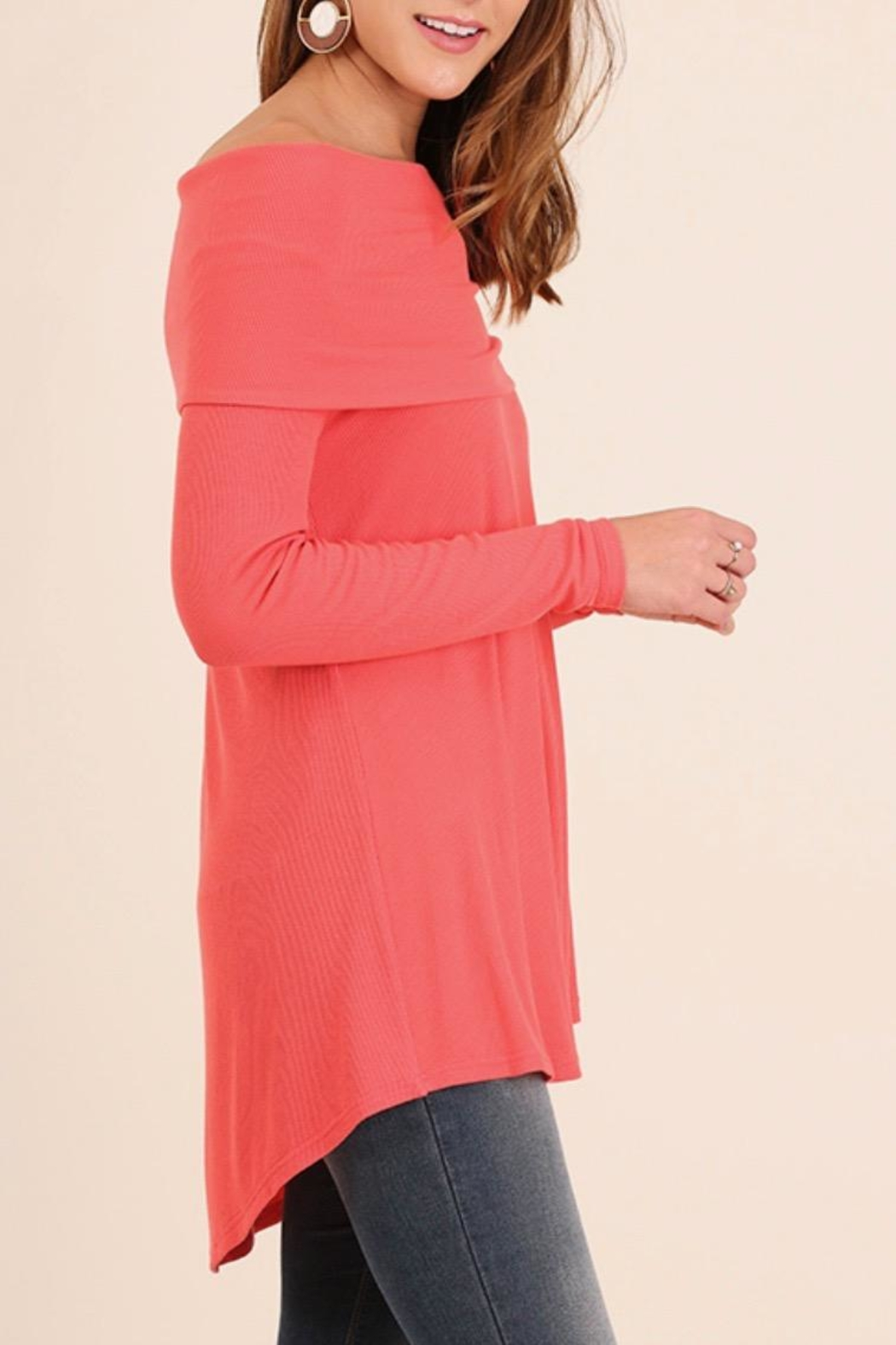 Umgee USA Off-The-Shoulder Sweater - Front Cropped Image