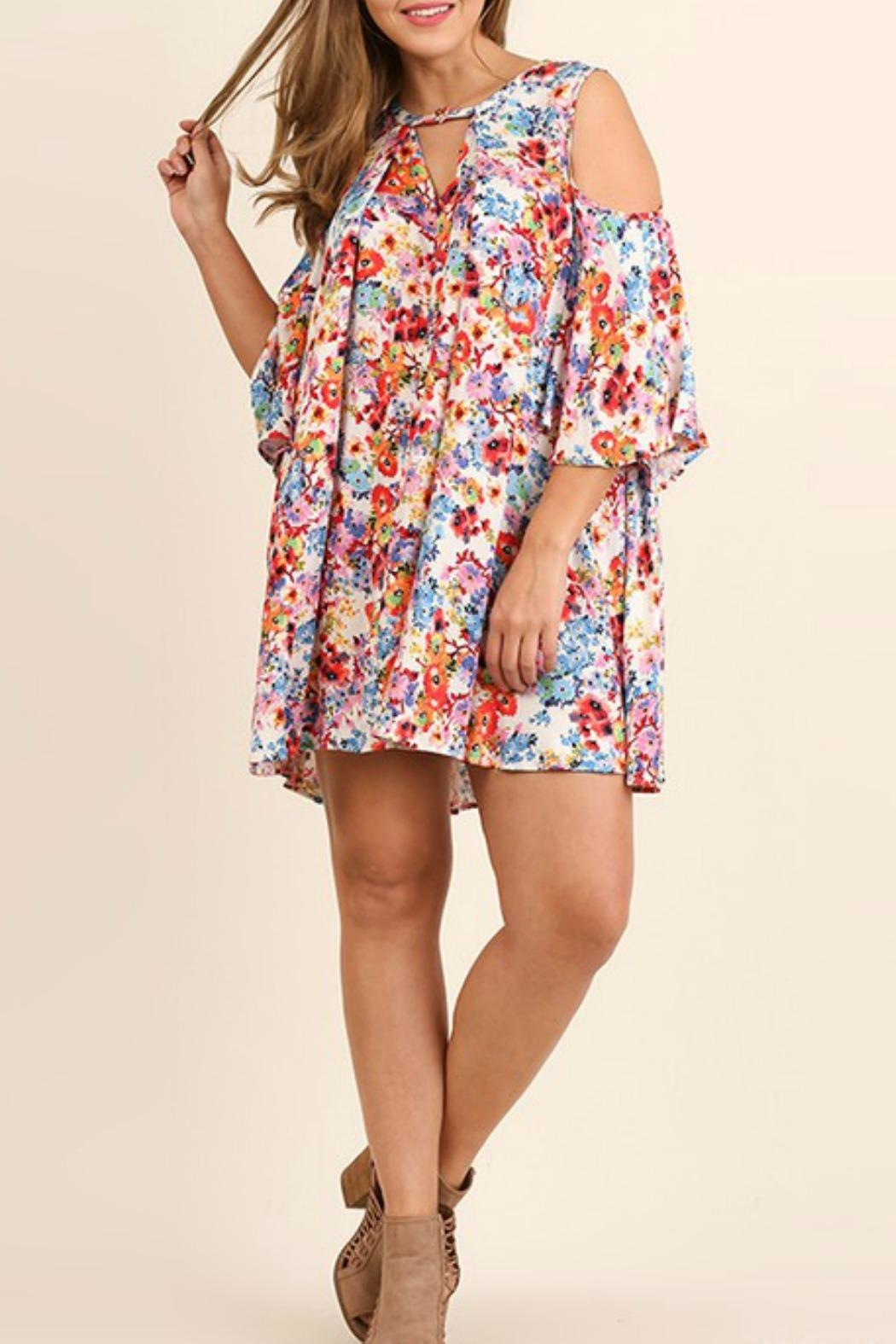 Umgee USA Open Shoulder Plus Dress - Front Cropped Image