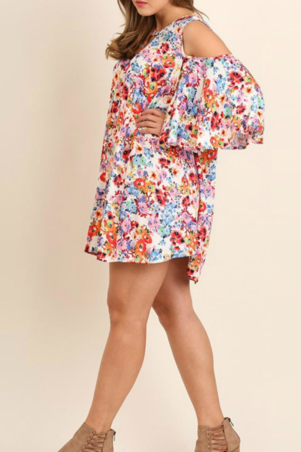 Umgee USA Open Shoulder Plus Dress - Front Full Image