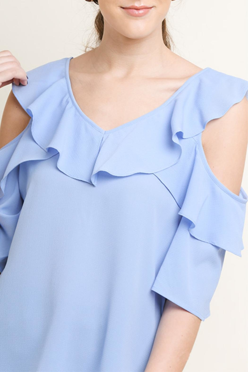 Umgee USA Open-Shoulder Ruffle Top - Side Cropped Image