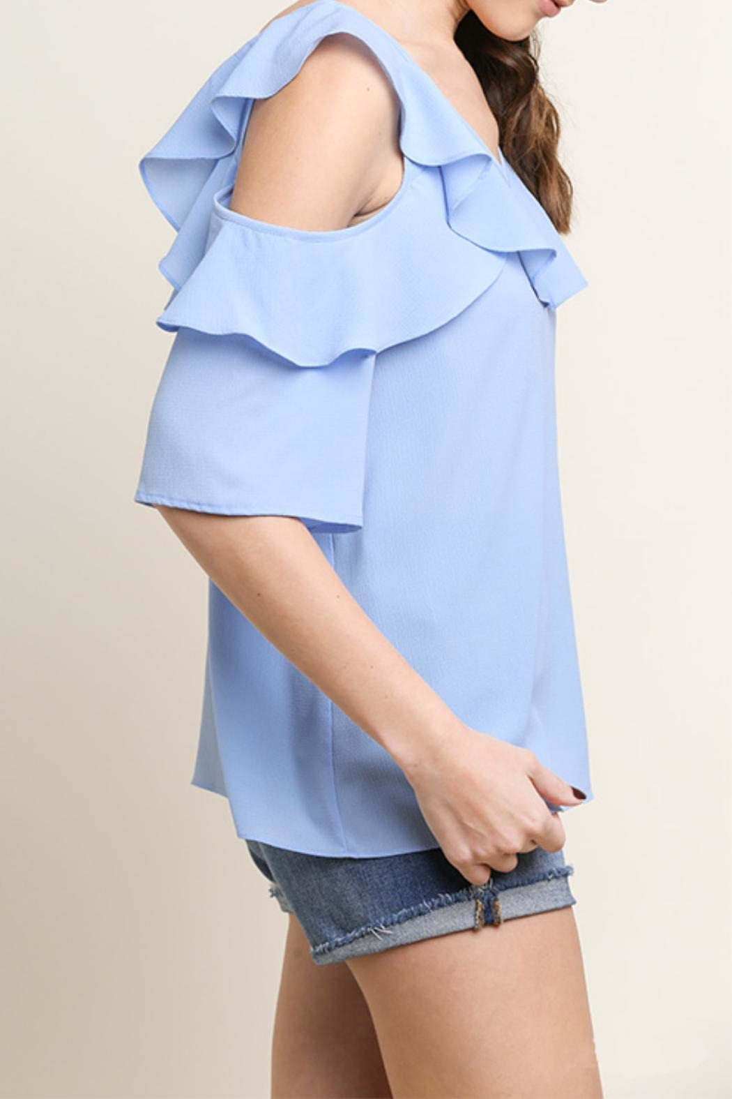 Umgee USA Open-Shoulder Ruffle Top - Front Full Image