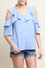 Umgee USA Open-Shoulder Ruffle Top - Front cropped