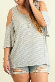 Umgee USA Open Shoulder Striped Top - Product Mini Image