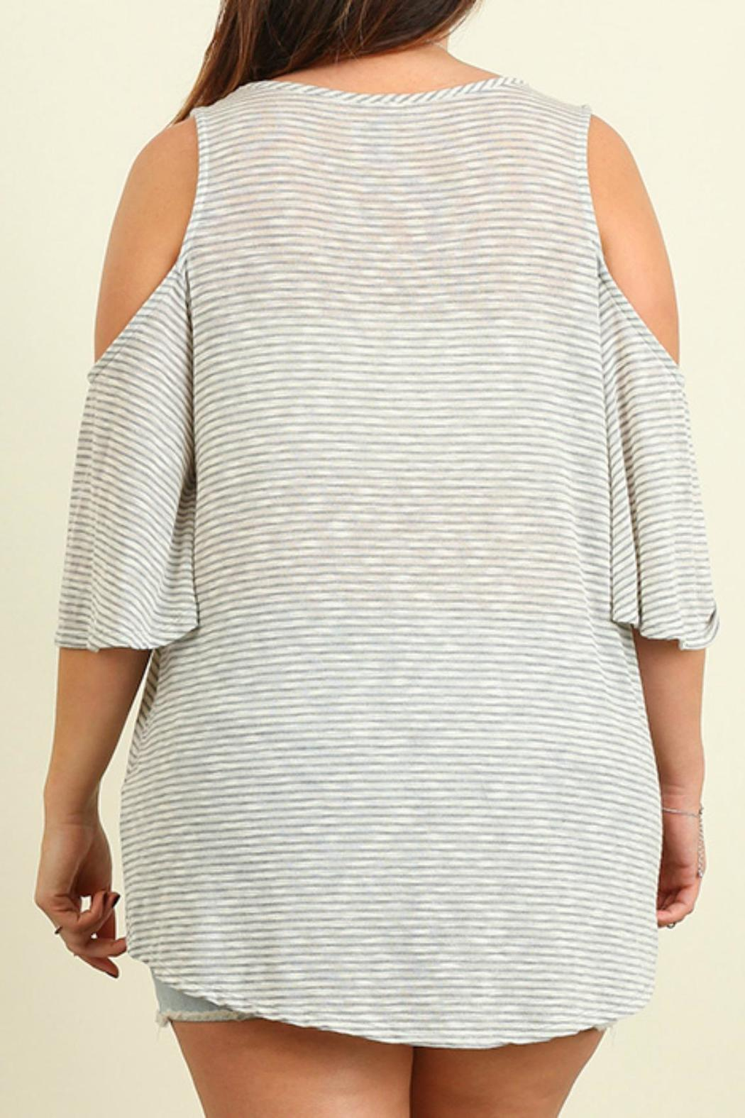 Umgee USA Open Shoulder Striped Top - Side Cropped Image