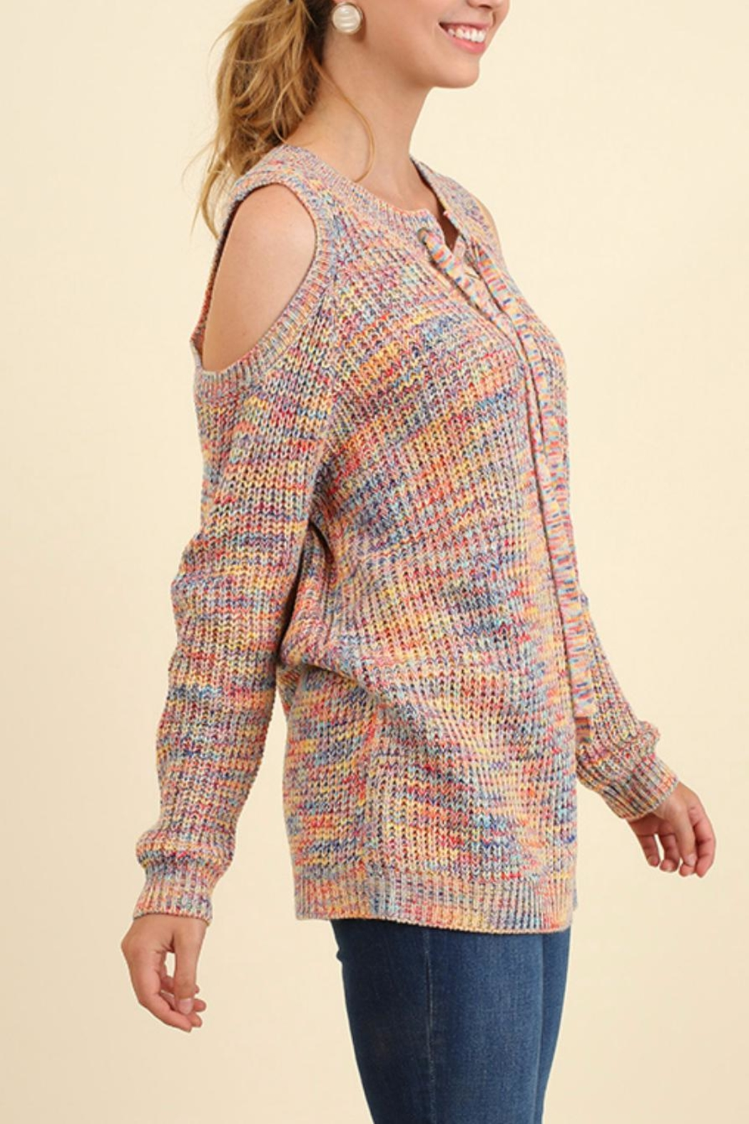 Umgee USA Open Shoulder Sweater - Front Full Image