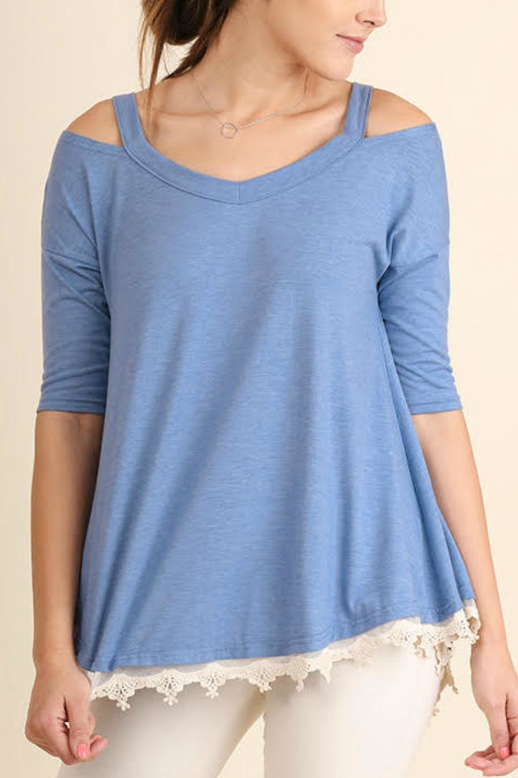 Umgee USA Open Shoulder Tunic - Front Cropped Image