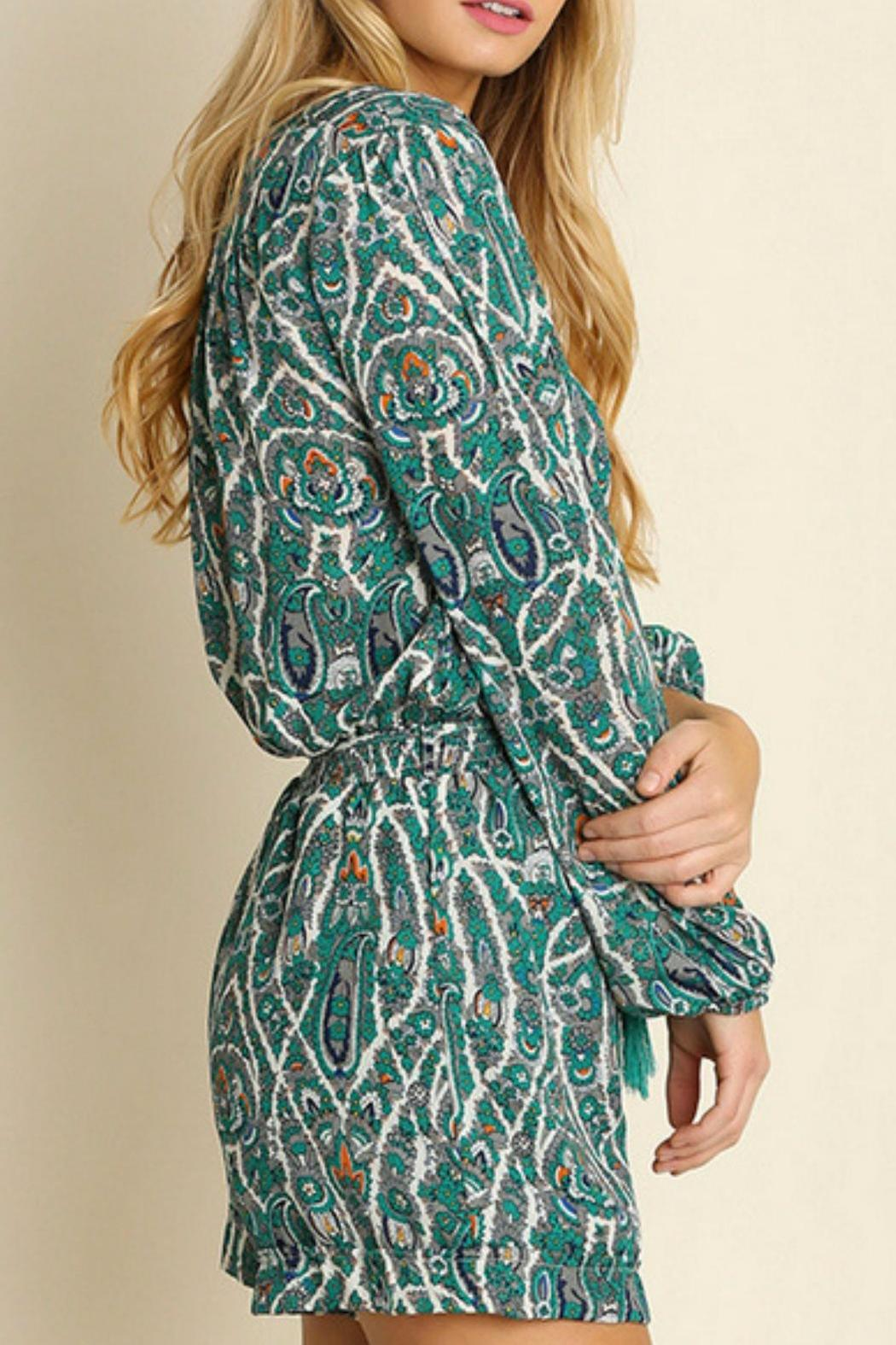Umgee USA Paisley Green Romper - Front Full Image