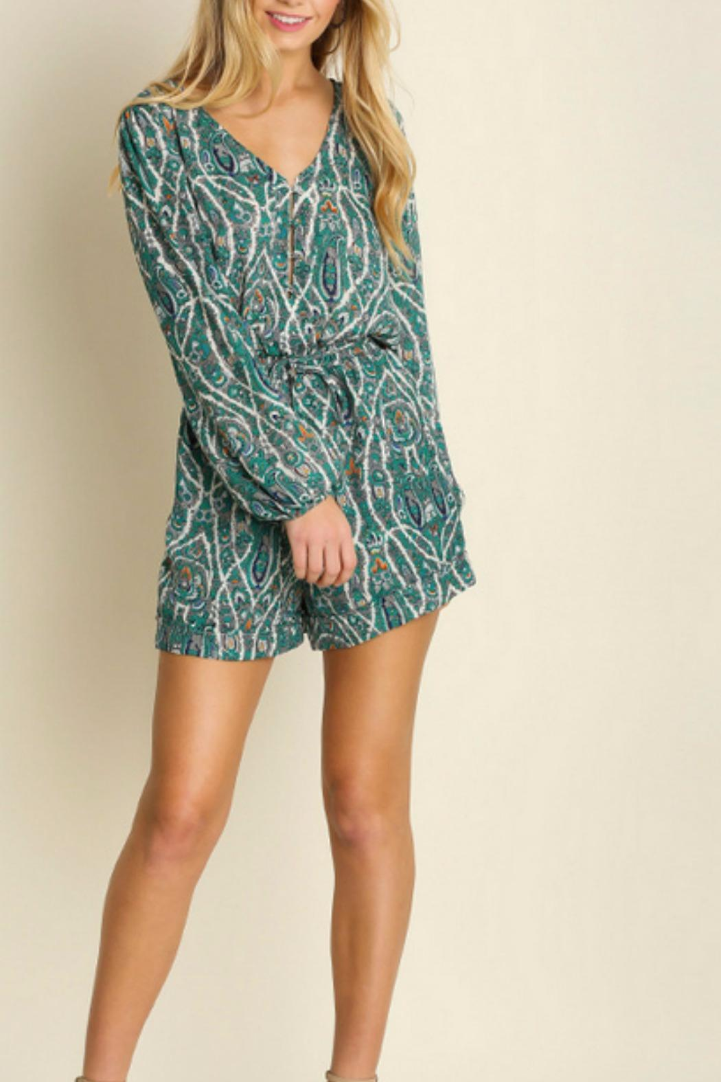 Umgee USA Paisley Green Romper - Front Cropped Image