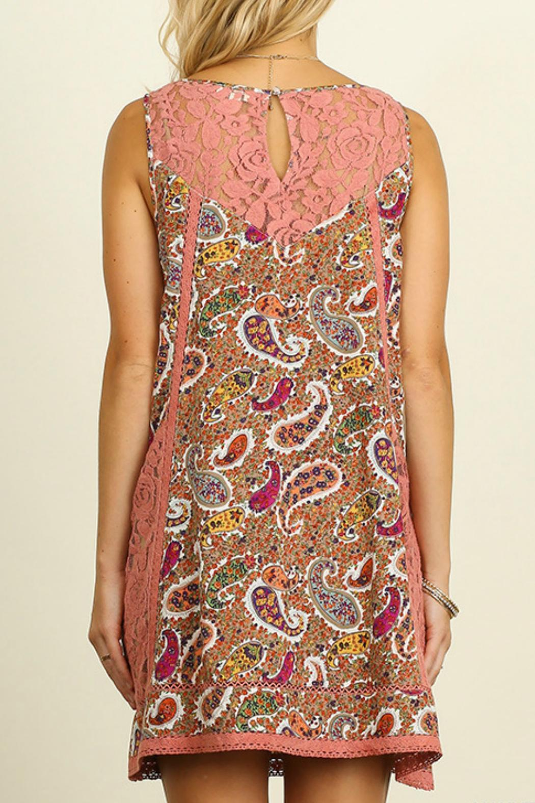 Umgee USA Paisley Print Dress - Front Full Image