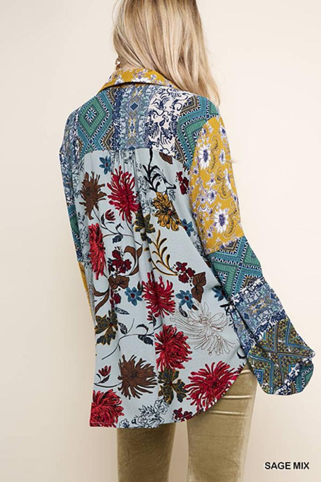 Umgee USA Paisley Print Long Puff Sleeve Button Up - Front Full Image