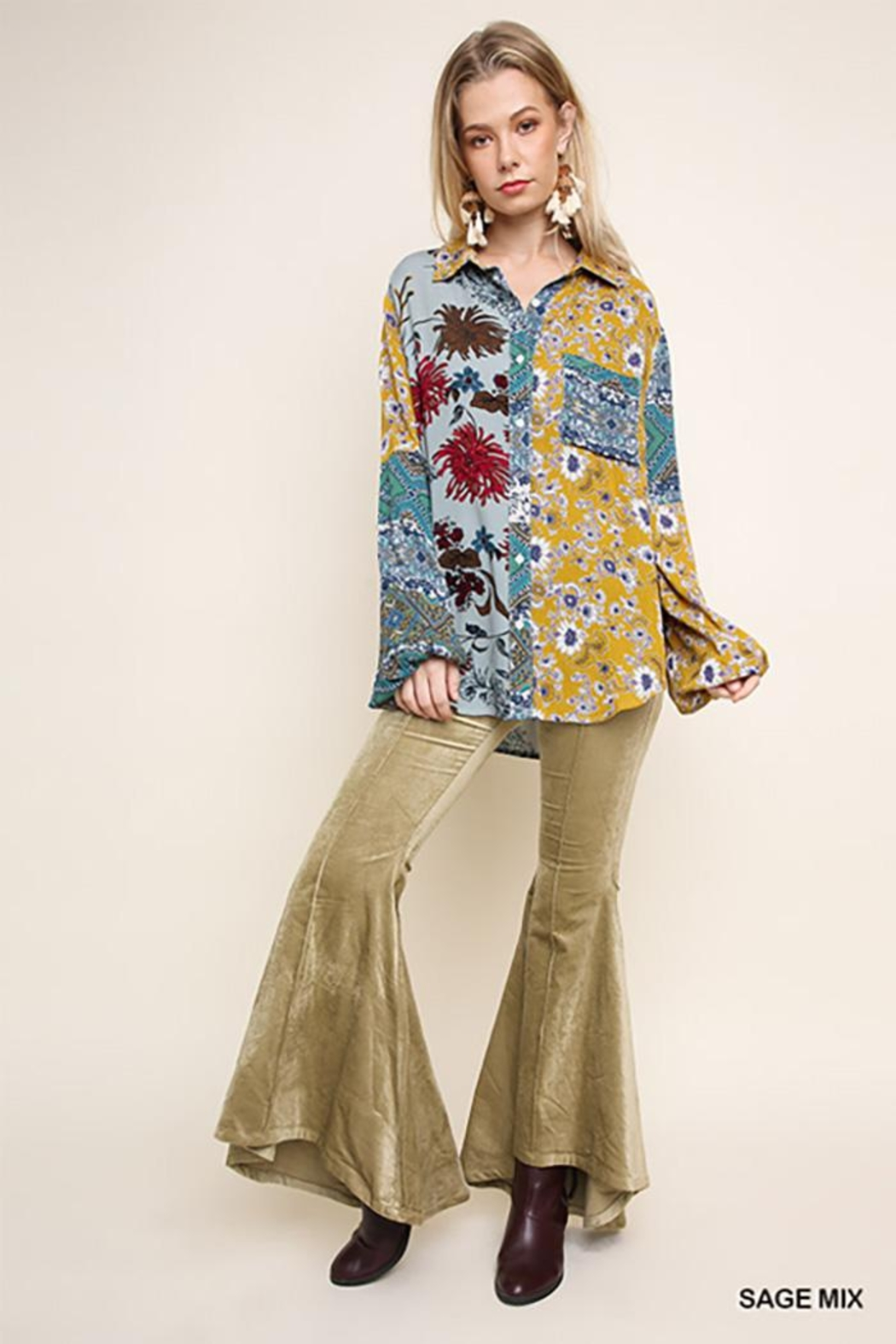 Umgee USA Paisley Print Long Puff Sleeve Button Up - Back Cropped Image