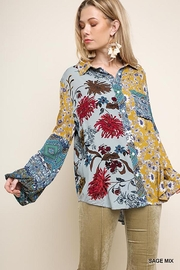 Umgee USA Paisley Print Long Puff Sleeve Button Up - Product Mini Image