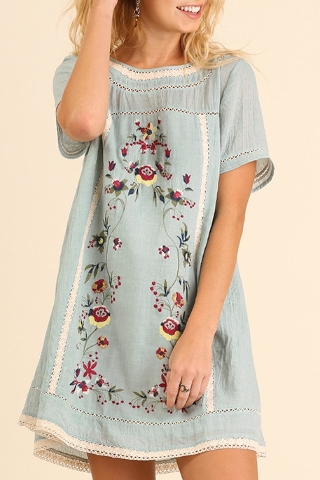 Umgee USA Bohemian Embroidery Dress - Front Cropped Image