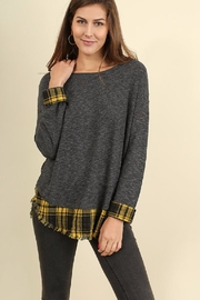 Umgee USA Plaid Contrast Sweater - Product Mini Image