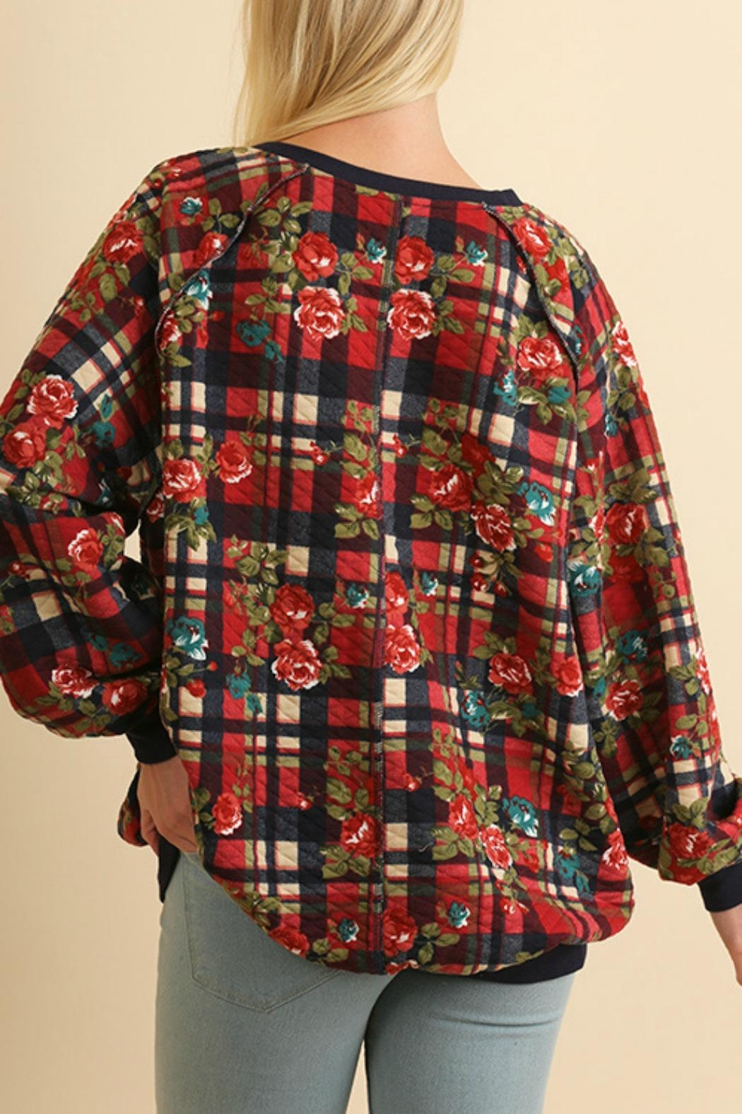 Umgee USA Plaid Quilted Floral - Side Cropped Image