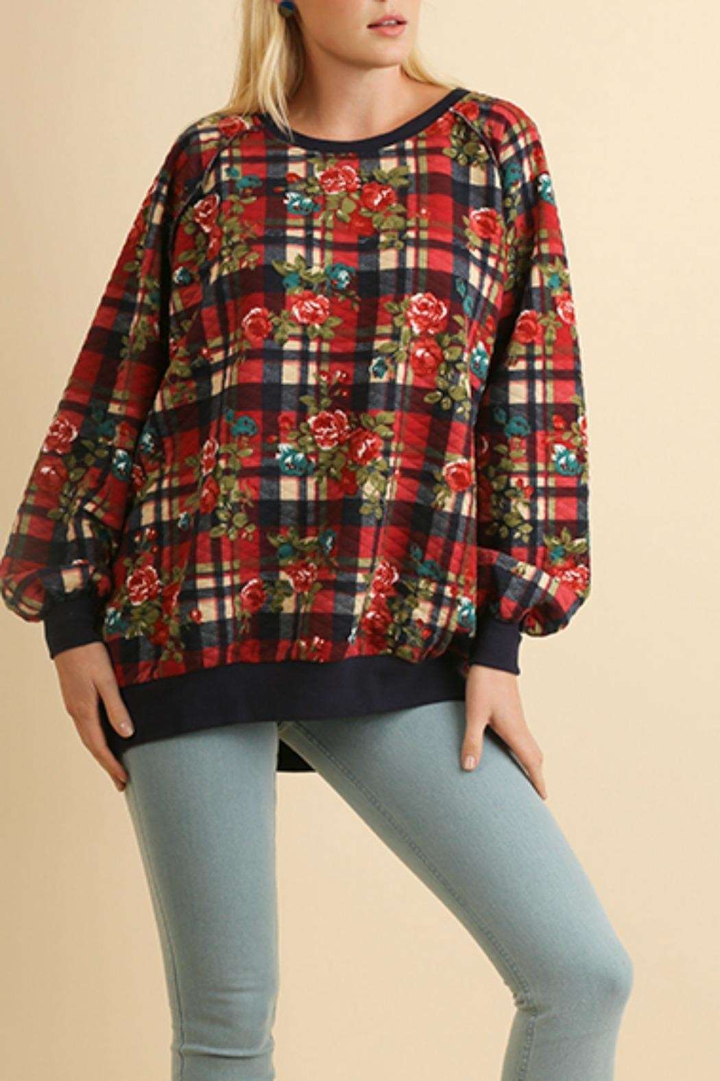 Umgee USA Plaid Quilted Floral - Front Cropped Image