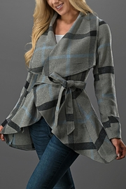 Umgee USA Plaid Tie Jacket - Front cropped
