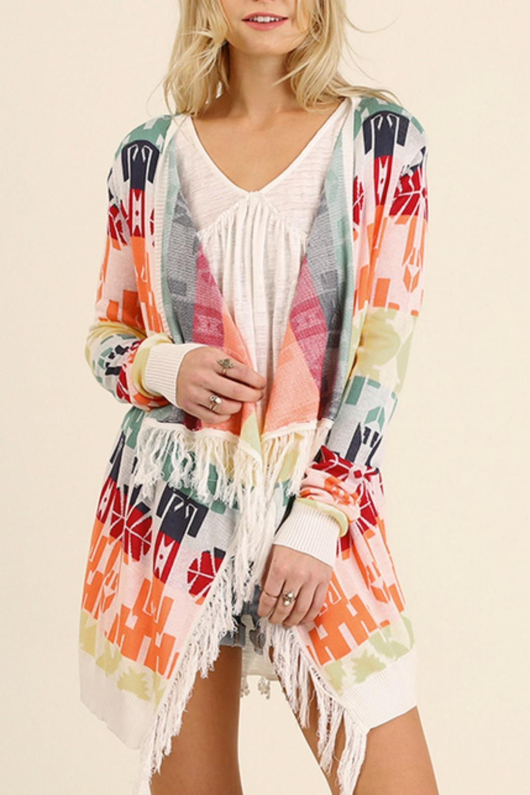 Umgee USA Print Cardigan Sweater - Front Cropped Image