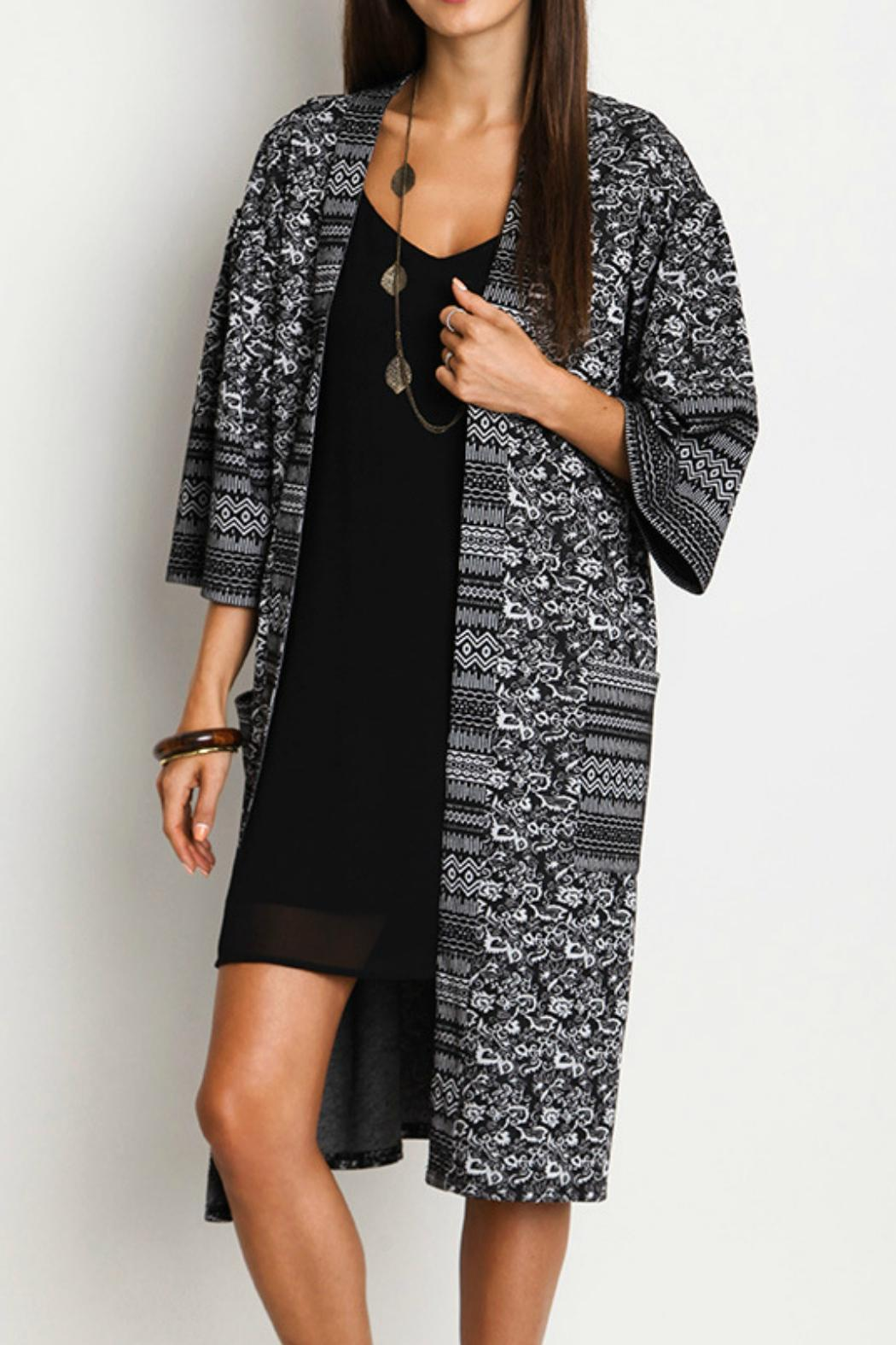 Umgee USA Print Duster Kimono - Front Cropped Image
