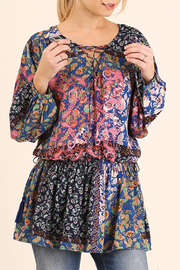 Umgee USA Print Front Tie Tunic - Product Mini Image