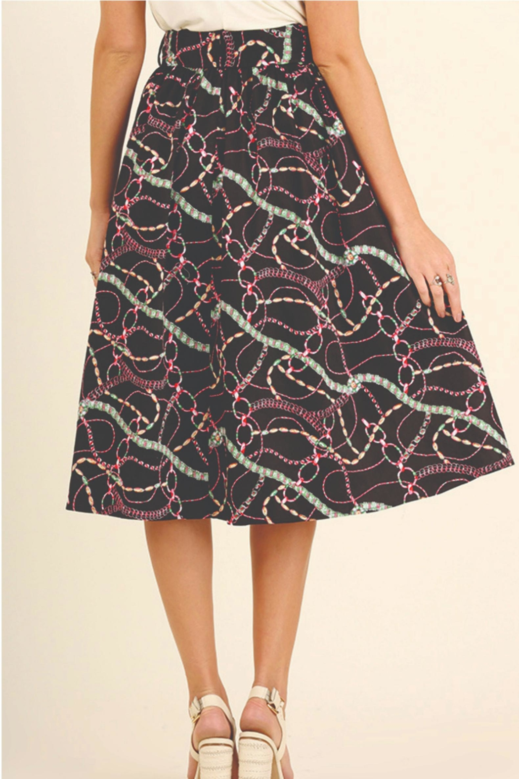 Umgee USA Print Skirt - Back Cropped Image