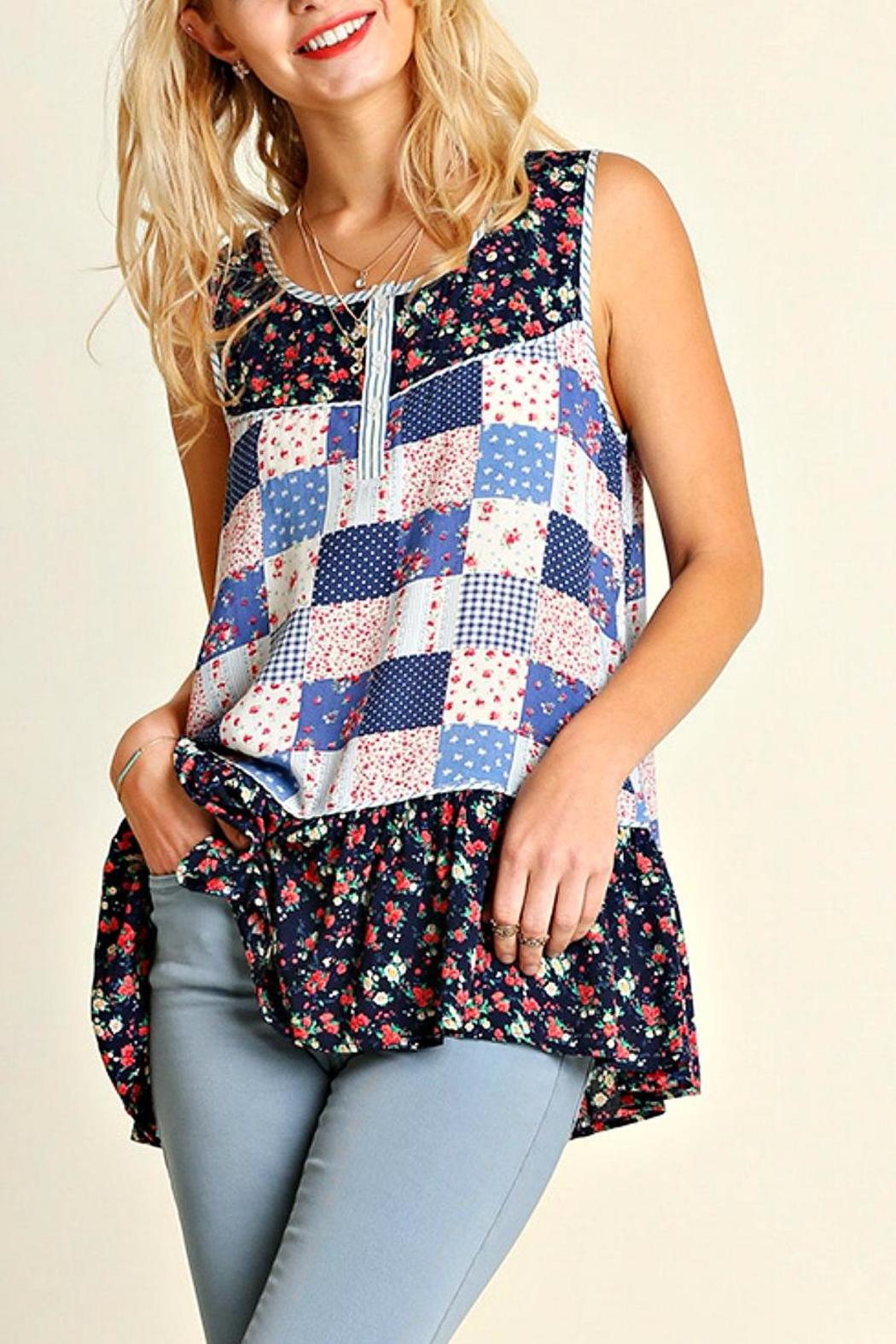 Umgee USA Printed Sleeveless Top - Front Cropped Image