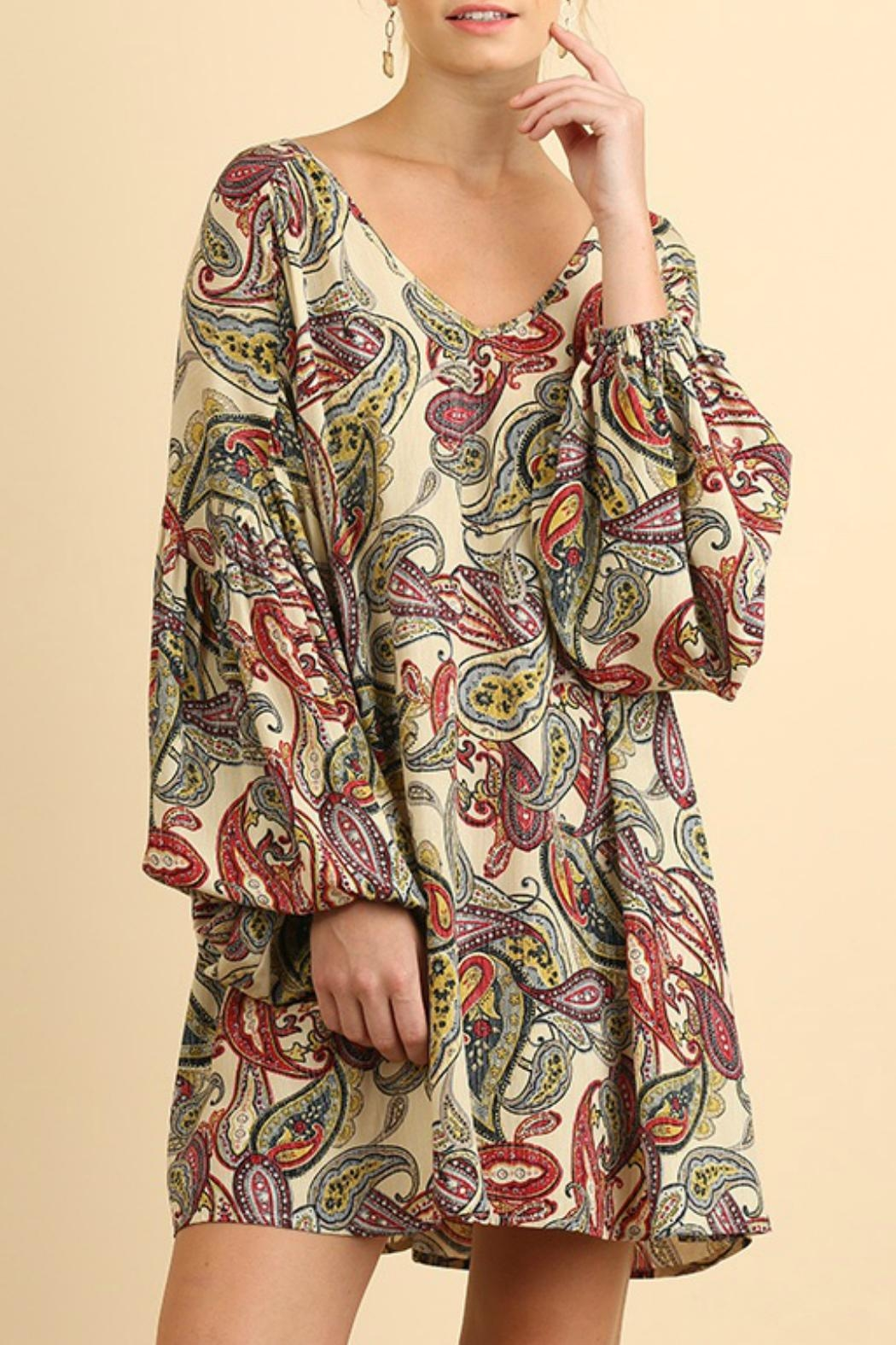 Umgee USA Puff Sleeve Paisley - Front Cropped Image
