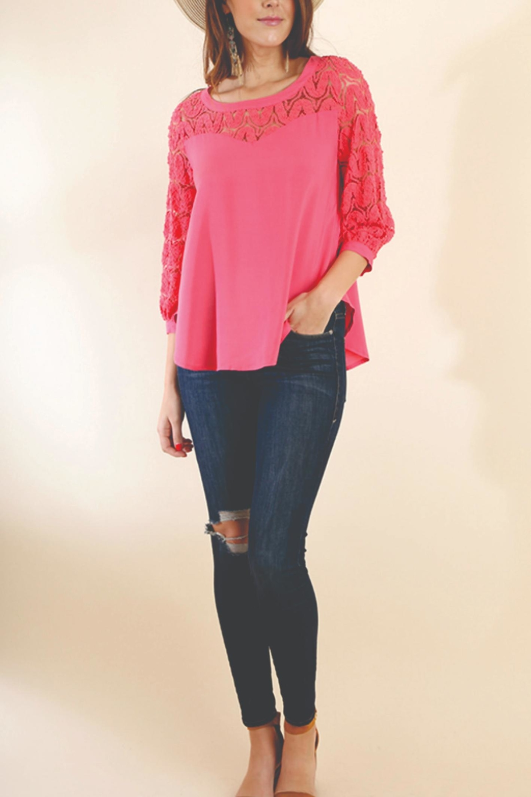 Umgee USA Puff Sleeve Top - Front Full Image