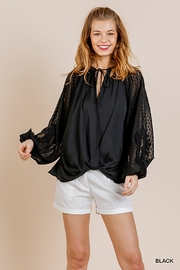 Umgee USA Puff Sleeve V Neck - Front cropped