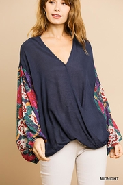 Umgee USA Puff Sleeve V-Neck - Front cropped